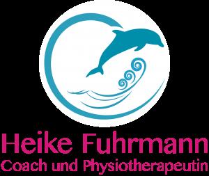 Logo, türkis, Grafik eines Delfins, der über Wellen springt, geschwungener Bogen umrahmt die Grafik, in Pink der Name, by Katja Backes-Neuninger, kbn-design.de